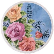 Colorfull Roses Round Beach Towel