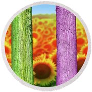 Colorfull Tree Trunks In Thefield. Abstract Psychedelic Colors Round Beach Towel