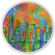 Coloring The Big Apple Round Beach Towel