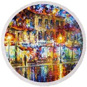Colors Of Emotions - Palette Knife Oil Painting On Canvas By Leonid Afremov Round Beach Towel