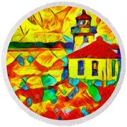Colors Of Lime Kiln Lighthouse Round Beach Towel