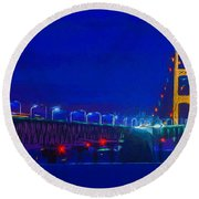 Colors Of Mackinac At Dusk Round Beach Towel