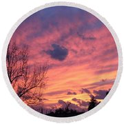 Colors Of Sunset Round Beach Towel