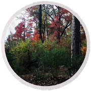 Colors Of The Forest Round Beach Towel