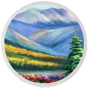 Colors Of The Mountains 2 Round Beach Towel
