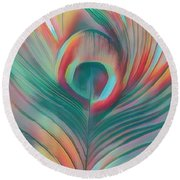 Colors Of The Rainbow Peacock Feather Round Beach Towel