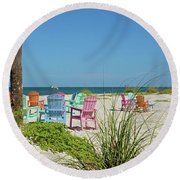 Colors Of The Seats Round Beach Towel
