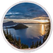Colors Of The Spring Morning At Discovery Point Round Beach Towel