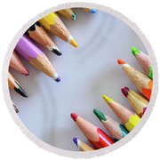 Colors. Old Pencils Round Beach Towel