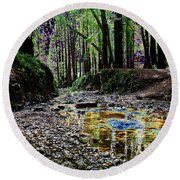 Colors On The Creek Round Beach Towel