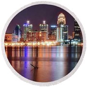 Colors On The Louisville Riverfront Round Beach Towel