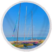 Colors On The Shore Round Beach Towel