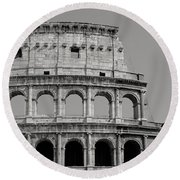Colosseum Or Coliseum Black And White Round Beach Towel