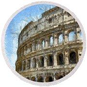 Colosseum Or Coliseum Pencil Round Beach Towel
