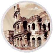 Colosseum Toned Sepia Round Beach Towel