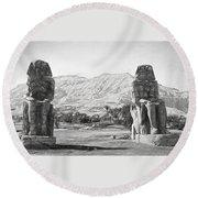 Colossi Of Memnon 2 Round Beach Towel