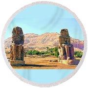 Colossi Of Memnon Round Beach Towel