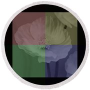 Colour Block Poppy Triptych Round Beach Towel