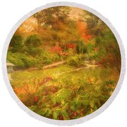 Colour Explosion In The Japanese Gardens Round Beach Towel