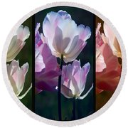 Coloured Tulips Round Beach Towel
