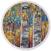 Colourful Autumn Aspen Trees By Lena Owens @olena Art Round Beach Towel