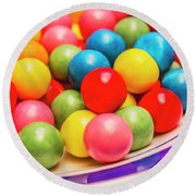 Colourful Bubblegum Candy Balls Round Beach Towel