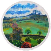 Colourful English Devon Landscape - Early Evening In The Valley Round Beach Towel
