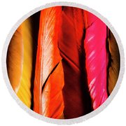 Colourful Feather Art Round Beach Towel