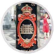 Colourful Lamp Post With The City Of Westminster Coat Of Arms London Round Beach Towel