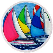 Colourful Regatta Round Beach Towel