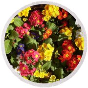 Colourful Spring Flowers Round Beach Towel