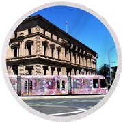 Colourful Tram At Old Treasury Building Round Beach Towel
