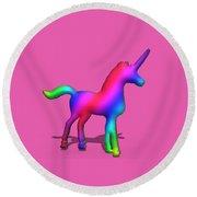 Colourful Unicorn In 3d Round Beach Towel