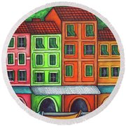 Colours Of Liguria Round Beach Towel