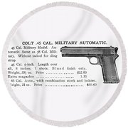 Colt .45 Automatic Pistol Round Beach Towel