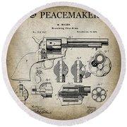 Colt .45 Peacemaker Revolver Patent  1875 Round Beach Towel