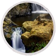 Columba River Gorge Falls 2 Round Beach Towel