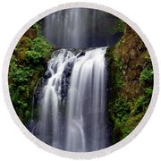 Columba River Gorge Falls 3 Round Beach Towel