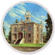 Columbia County Courthouse Round Beach Towel