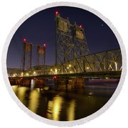 Columbia Crossing I-5 Interstate Bridge At Night Round Beach Towel