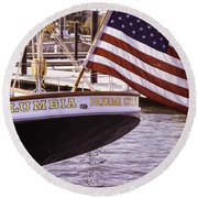 Columbia From The Stern Round Beach Towel