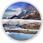Columbia Ice Field And Athabaska Glacier Round Beach Towel