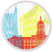 Columbia Mo Skyline Pop Round Beach Towel