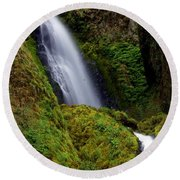 Columbia River Gorge Falls 1 Round Beach Towel