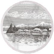 Columbia River Raft Up Round Beach Towel