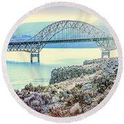 Columbia River Vantage Bridge Round Beach Towel
