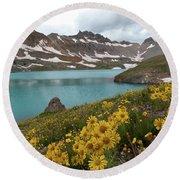 Columbine Lake And Alpine Sunflower Landscape Round Beach Towel