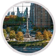 Columbus Circle Round Beach Towel by S Paul Sahm