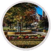 Columbus Day In The Park Round Beach Towel