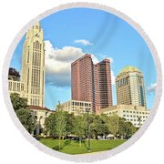 Columbus From The Park Round Beach Towel